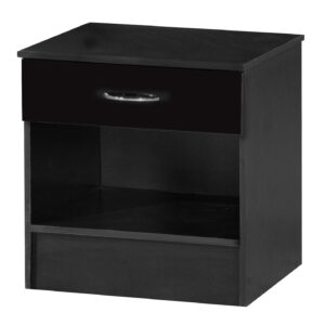 Black Two Tone Bedside Cabinet - LM Furnishings