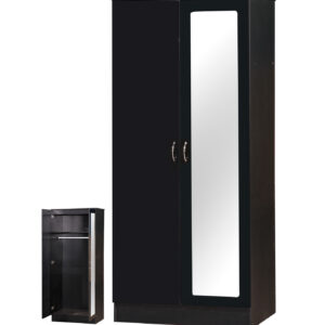 Black Two Tone 2 Door Double Wardrobe Mirrored - LM Furnishings