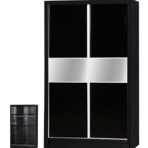 Black Two Tone 2 Door Sliding Wardrobe Mirrored - LM Furnishings