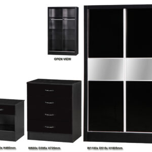 Black Two Tone 3 PIECE SET Slider - LM Furnishings