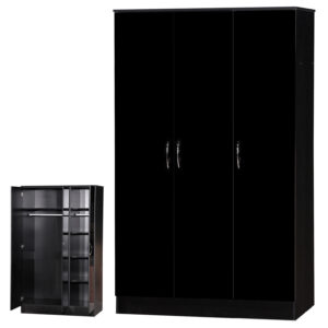 Black Two Tone 3 Door Triple Wardrobe Standard - LM Furnishings