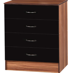 Black & Walnut Chest of 4 Drawers - LM Furnishings