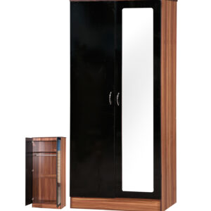 Black & Walnut 2 Door Double Wardrobe Mirrored - LM Furnishings