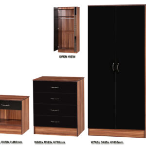 Black & Walnut 3 PIECE SET Standard - LM Furnishings