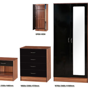 Black & Walnut 3 PIECE SET Mirrored - LM Furnishings