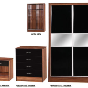Black & Walnut 3 PIECE SET Slider - LM Furnishings
