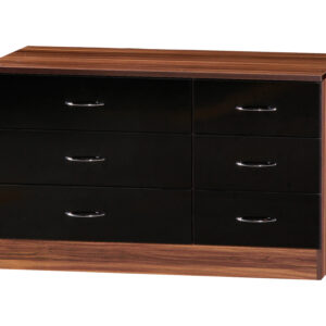 Black & Walnut Wide Chest of 6 Drawers - LM Furnishings
