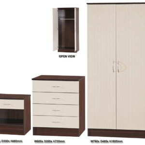 Crème Supreme & Dark Walnut 3 PIECE SET Double Standard - LM Furnishings