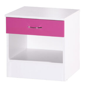 Pink & White Bedside Cabinet - LM Furnishings