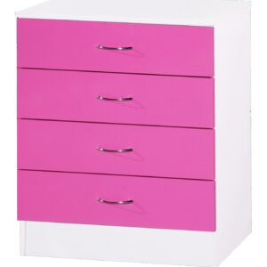 Pink & White Chest of 4 Drawers - LM Furnishings