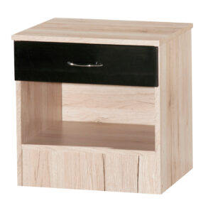 Black & Sanremo Oak Bedside Cabinet - LM Furnishings