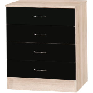 Black & Sanremo Oak Chest of 4 Drawers - LM Furnishings