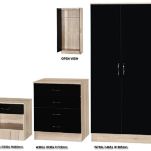 Black & Sanremo Oak 3 PIECE SET Double Standard - LM Furnishings