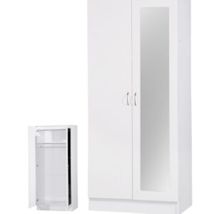 White Two Tone 2 Door Double Wardrobe Mirrored - LM Furnishings