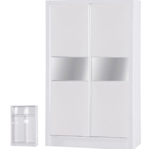 White Two Tone 2 Door Sliding Wardrobe Mirrored - LM Furnishings
