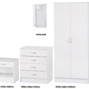 White Two Tone 3 PIECE SET Double Standard - LM Furnishings
