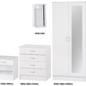 White Two Tone 3 PIECE SET Double Mirrored - LM Furnishings