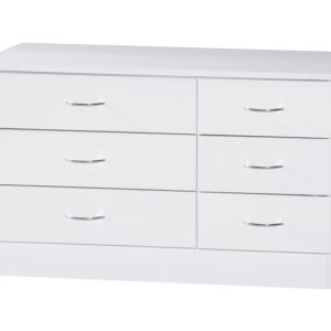 White Two Tone Wide Chest of 6 Drawers - LM Furnishings