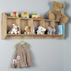 Amelie Oak Wall Shelf with Hanging Pegs - LM Furnishings