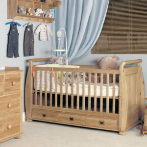 Amelie Oak Cot-Bed with Three Drawers - LM Furnishings