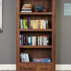 Shiro Walnut Large 2 Drawer Bookcase - LM Furnishings
