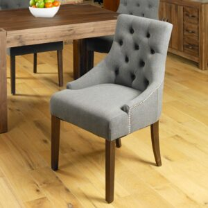 Walnut Accent Upholstered Dining Chair - Slate (Pack Of Two) - LM Furnishings