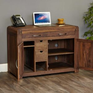 Shiro Walnut Hidden Home Office - LM Furnishings