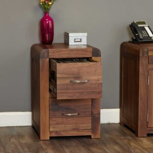Shiro Walnut Two Drawer Filing Cabinet - LM Furnishings