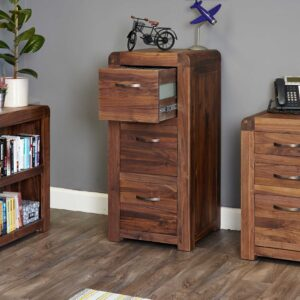 Shiro Walnut 3 Drawer Filing Cabinet - LM Furnishings