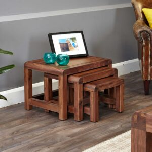 Shiro Walnut Nest of 3 Coffee Tables - LM Furnishings