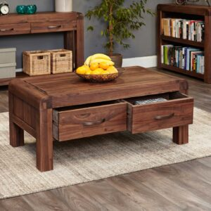 Shiro Walnut Four Drawer Coffee Table - LM Furnishings