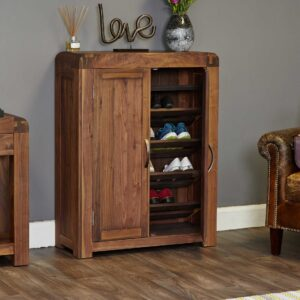 Shiro Walnut Shoe Cupboard - LM Furnishings