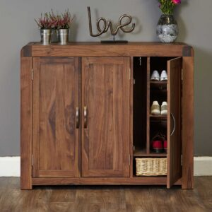 Shiro Walnut Extra Large Shoe Cupboard - LM Furnishings