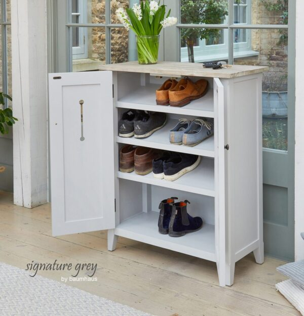 Baumhaus Signature Grey Shoe Storage Cupboard - LM Furnishings