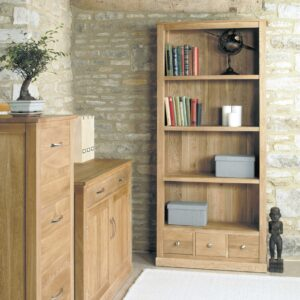 Mobel Oak Large 3 Drawer Bookcase - LM Furnishings