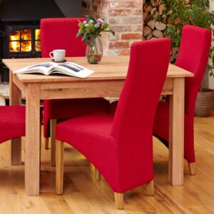 Oak Full Back Upholstered Dining Chair - Berry (Pack of Two) - LM Furnishings
