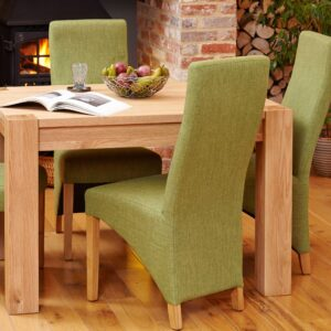 Oak Full Back Upholstered Dining Chair - Sage (Pack of Two) - LM Furnishings