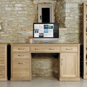 Mobel Oak Twin Pedestal Computer Desk - LM Furnishings