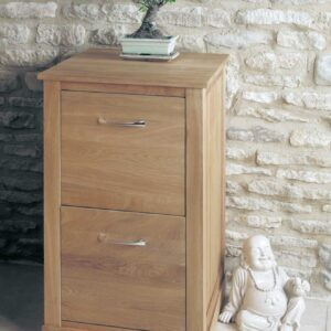 Mobel Oak Two Drawer Filing Cabinet - LM Furnishings