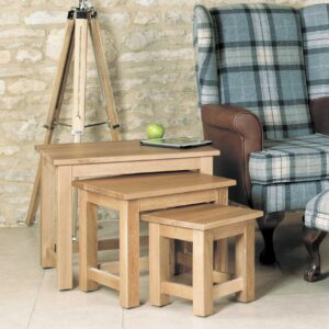 Mobel Oak Nest of 3 Coffee Tables - LM Furnishings
