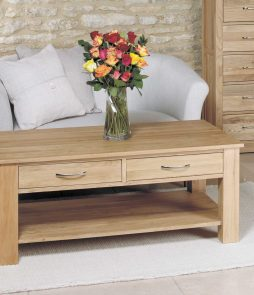 mobel oak four drawer coffee table lm furnishings
