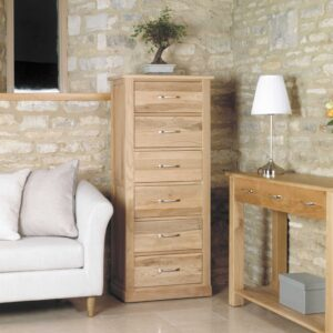 Mobel Oak Tallboy (6 Drawer) - LM Furnishings