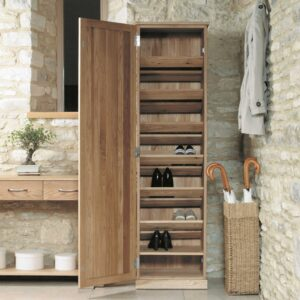 Mobel Oak Tall Shoe Cupboard - LM Furnishings