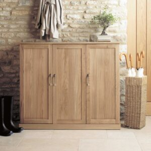 Mobel Oak Extra Large Shoe Cupboard - LM Furnishings