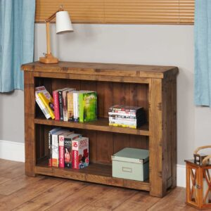 Heyford Rough Sawn Oak Low Bookcase - LM Furnishings