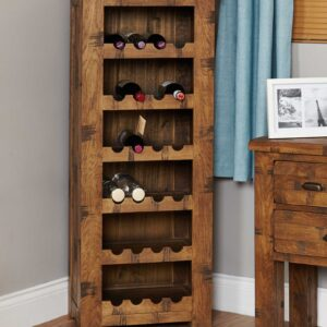 Heyford Rough Sawn Oak Tallboy Wine Rack - LM Furnishings