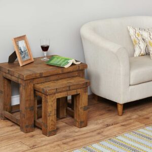 Heyford Rough Sawn Oak Nest of 2 Coffee Tables - LM Furnishings