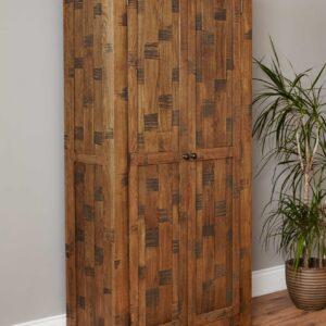 Heyford Rough Sawn Oak Large Shoe Cupboard - LM Furnishings