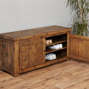 Heyford Rough Sawn Oak Shoe Storage Bench - LM Furnishings