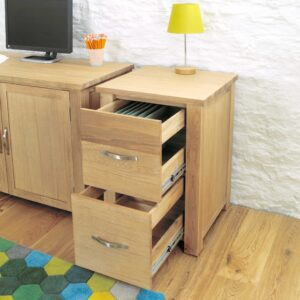 Aston Oak Two Drawer Filing Cabinet - LM Furnishings